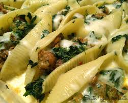 south your mouth sausage and spinach stuffed shells with garlic