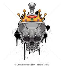 vector skull with crown on graffiti background vector clip
