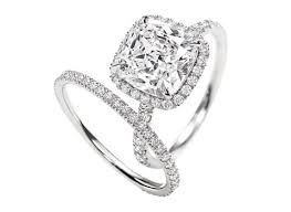 halo cushion cut engagement ring halo cushion cut ring with matching band gems