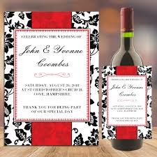 Red And Black Wedding Personalised Red And Black Wedding Table Favour Wine Champagne