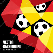 Belgian Flag Polygon Soccer Football Background With Balls In German And