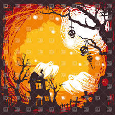 halloween background ghosts spooky halloween background with house on graveyard and flying