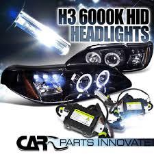 ebay mustang headlights glossy black 94 98 mustang smoke halo led projector headlights h3