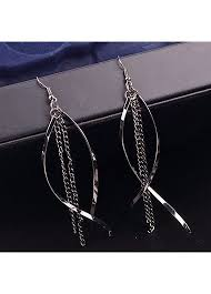 metal earings tassels embellished black metal earrings for woman rotita