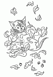 cat with fall leaves coloring pages for kids fall printables free
