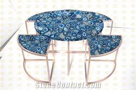 Office Furniture Meeting Table Blue Agate Semiprecious Stone Office Furniture Blue Gemstone