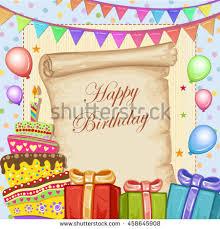 happy birthday card cake gifts balloons stock vector 458645908