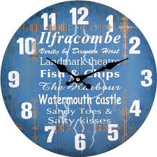 theme clock blue ilfracombe theme wall clock ozgameshop