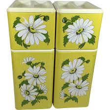 vintage metal kitchen canister set yellow w daisies shops ruby