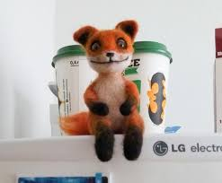 Meme Fox - needle felted fox faux taxidermy animal felted animal geek