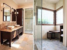 contemporary master bathroom design showing elegant designed cream