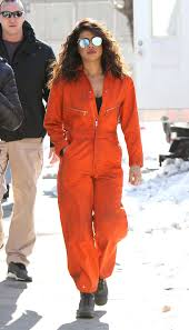 orange jumpsuit priyanka chopra in an orange jumpsuit on the set of quantico photos