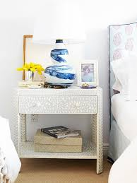 Nightstand Size Paisley Headboard With Distressed Turquoise Nightstand