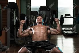 Bodybuilder Bench Press Handsome Young Man Doing Dumbbell Incline Bench Press Workout