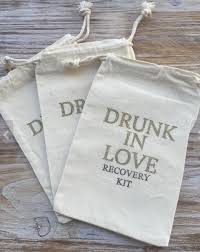 muslin favor bags personalized in wedding party aid hangover kit