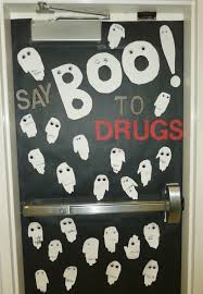 halloween ghost lights say boo to drugs door with handprint ghosts red ribbon week