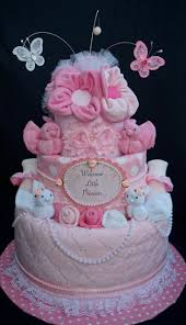 pink and gray baby elephant diaper cake just precious baby