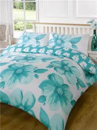 big teal poppies super king size bedding duvet quilt cover bed