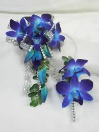 prom wrist corsage ideas prom flowers arm wrist corsage of blue orchids and silver