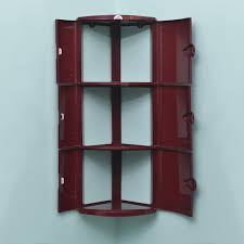home by nilkamal 3 door corner cabinet maroon amazon in home