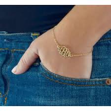 silver monogram bracelet gold plated sterling silver monogram bracelet