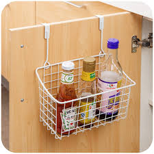 Wall Cabinet Spice Rack White Metal Cupboard Spice Rack Storage Organizer Single Hanging