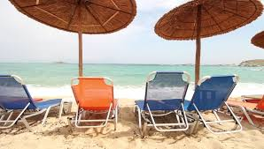 Summer Lounge Chairs Lounge Chairs And Parasol On The Beach Southern France Stock