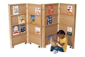 Double Bookcase 4 Section Double Sided Mobile Library Bookcase