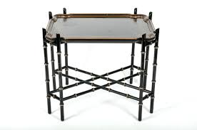 Folding Tray Table Set Vintage Wood Gold Stenciled Black Serving Tray Table Folding