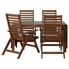 Gorgeous Ikea Patio Dining Set Outdoor Dining Furniture äpplarö Table 4 Reclining Chairs Outdoor äpplarö Brown Stained