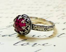 gothic ruby rings images Beautiful gothic vintage sterling silver floral band ring with jpg