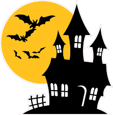 halloween haunted house with bats wall decor decal nostalgia decals