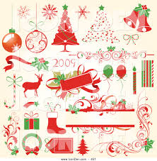 clip art of a collection of red and green christmas icons of