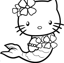 kitty coloring page hello kitty pictures mermaid cartoons animals