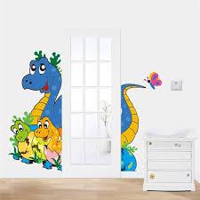 stickers animaux chambre bébé 3d bébé et mère dinosaures stickers muraux pour enfants décoration
