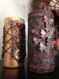Polymer Clay Vases Luna Blue Creations Metallic Steampunk Design Polymer Clay Vase