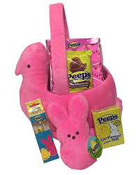peeps basket plush peeps easter basket gift with mini plush bunny