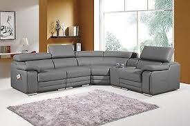 Corner Sofa Recliner New Elixir Grey Leather Electric Recliner Corner Sofa With Table