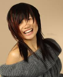 shoulder long asian hair with a round silhouette and elongated in