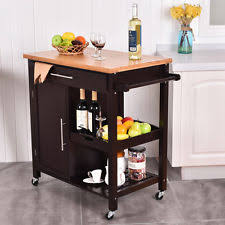 island trolley kitchen giantex rolling wood kitchen island trolley cart bamboo top storage