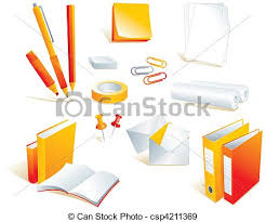 articles bureau papeterie fourniture articles bureau style illustration