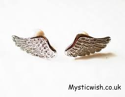 wing earrings angel wing earrings with pearl backs mystic wish