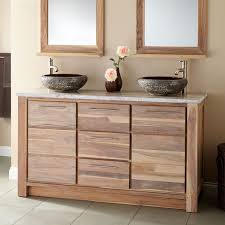 Venica Teak Double Vessel Sinks Vanity Whitewash Bathroom - Bathroom vanities double vessel sink