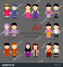 philippines traditional clothing for kids asian cartoon kids different traditional costume stock vector