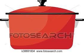 dessin casserole cuisine clipart dessin animé rouges casserole sur a blanc arrière