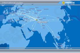 Airline Route Maps by Routes Map Uzbekistan Airways