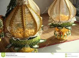 decoration tray of thai traditional wedding gifts stock photo