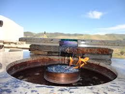 Outdoor Fire Pit Outdoor Fire Pit Water Feature Built Into The Bar Top With Led