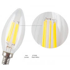 non dimmable led filament candle light bulb 2700k warm white 600lm