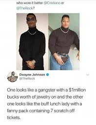 Dwayne Johnson Meme - who wore it better or dwayne johnson one looks like a gangster with